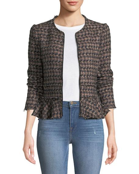 Zip-Front Tweed Peplum Jacket