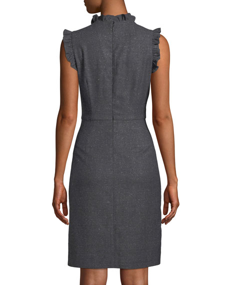 Sleeveless Ruffle Herringbone Sheath  Dress