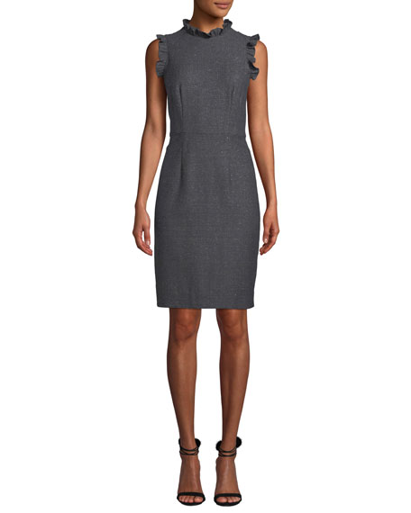 Image 1 of 1: Sleeveless Ruffle Herringbone Sheath Dress