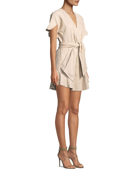 Paz Belted Leather Mini Dress