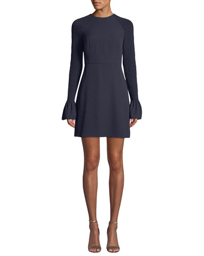 Victoria Smocked Bell-Sleeve Cocktail Dress