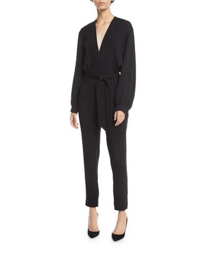 Frame Belted Long-Sleeve Jumpsuit