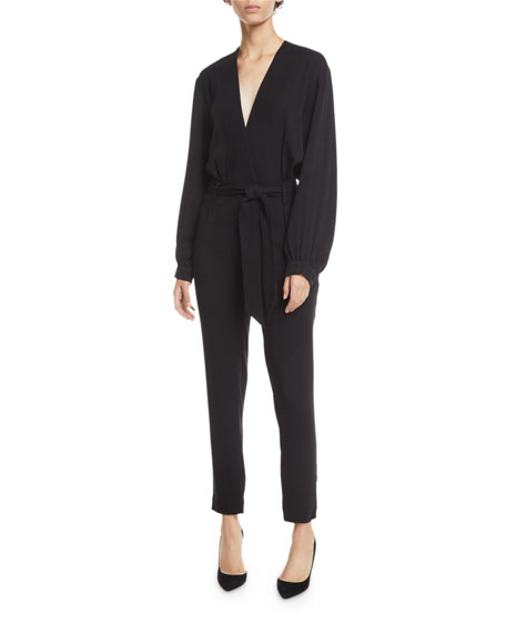 Iro Frame Belted Long-Sleeve Jumpsuit