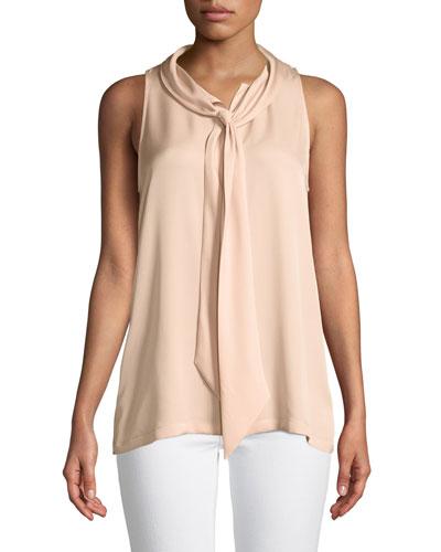 Scarf-Neck Sleeveless Silk Blouse