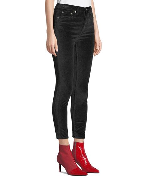 High-Rise Velvet Skinny Ankle Jeans