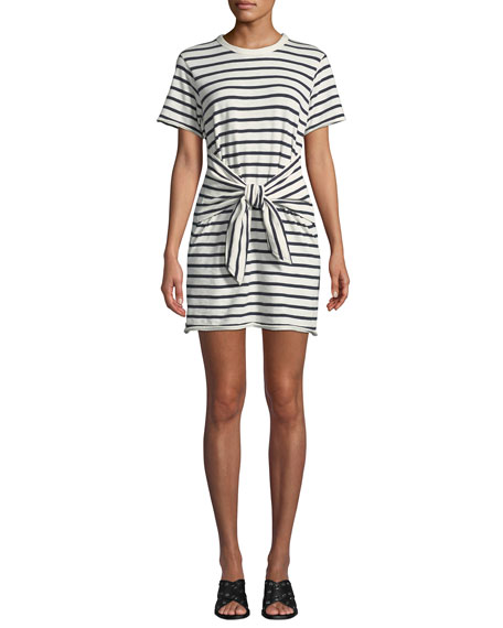Rag & Bone Halsey Crewneck Tie-Neck Striped Cotton