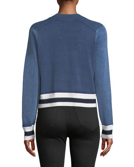 Dean Stripe Mock-Neck Cotton/Wool Sweater