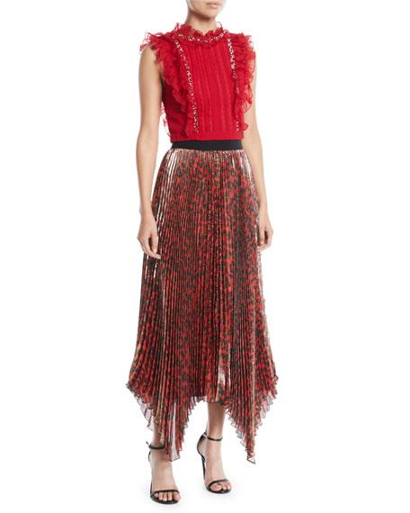 Katz Shimmery Leopard Pleated Maxi Skirt