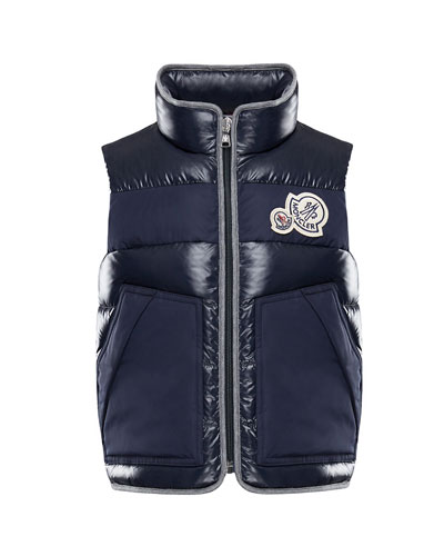 Gomont Mixed Materials Vest w/ Double Logo Patch, Size 4-6