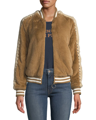 The Letterman Faux-Fur Bomber Jacket