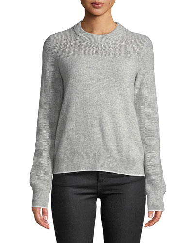 Yorke Cashmere Crewneck Sweater with Mesh Details
