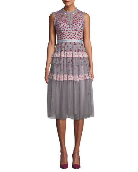 Needle & Thread NOVA SLEEVELESS FLORAL-APPLIQUE TULLE COCKTAIL MIDI DRESS