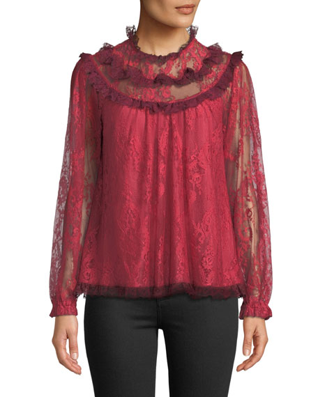 Needle & Thread Scallop Frill Lace Long-Sleeve Top, RED
