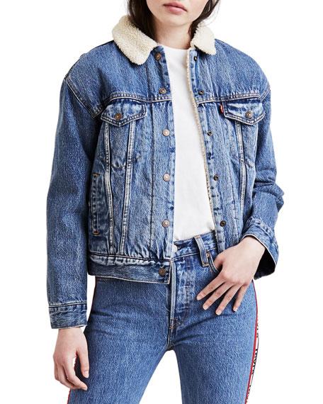 b3c883b381 Levi's Premium Ex-Boyfriend Denim Trucker Jacket w/ Faux-Fur Lining