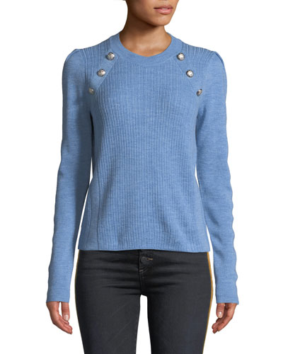 Simi Wool Button-Shoulder Raglan Sweater