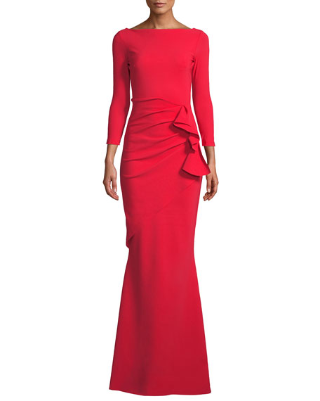 9bf431c4468b Chiara Boni La Petite Robe Zelma Side-Draped Mermaid Gown