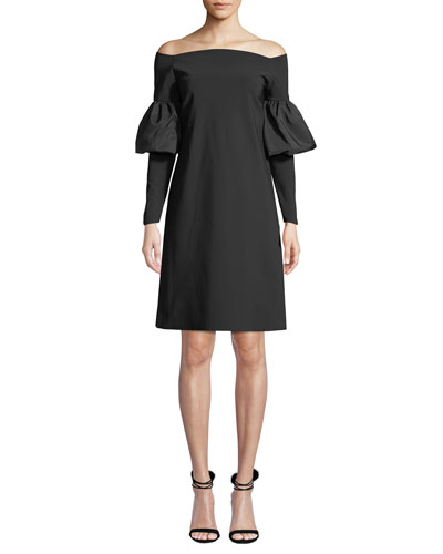 Zose Taffeta Balloon-Sleeve Dress