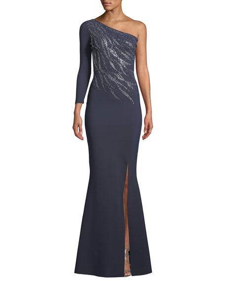 81f66c9489d41 Chiara Boni La Petite Robe Siobhan Metallic 1-Shoulder Gown