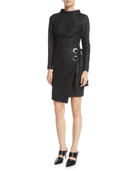 Long-Sleeve Wrap-Front Grommet Dress