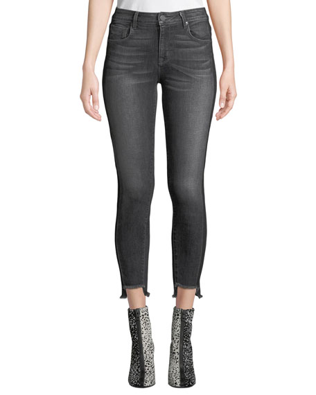 PARKER SMITH Twisted-Seam Cropped Skinny Jeans With Raw-Edge Step-Hem in Blue