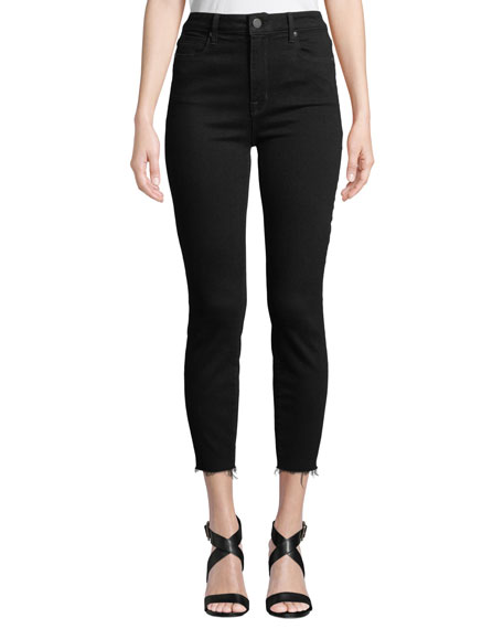 PARKER SMITH Bombshell High-Rise Skinny Cropped Jeans W/ Raw Hem in Gray