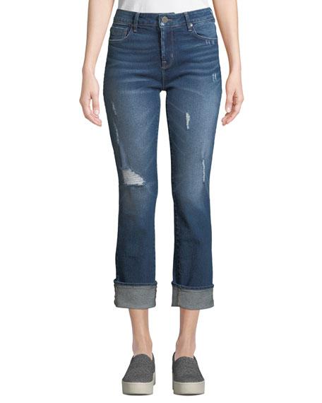 PARKER SMITH Runaround Sue Distressed Straight-Leg Jeans in Blue
