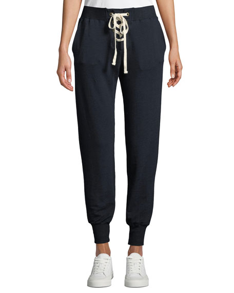 Monrow LACE-UP SWEATPANTS WITH CUFFS