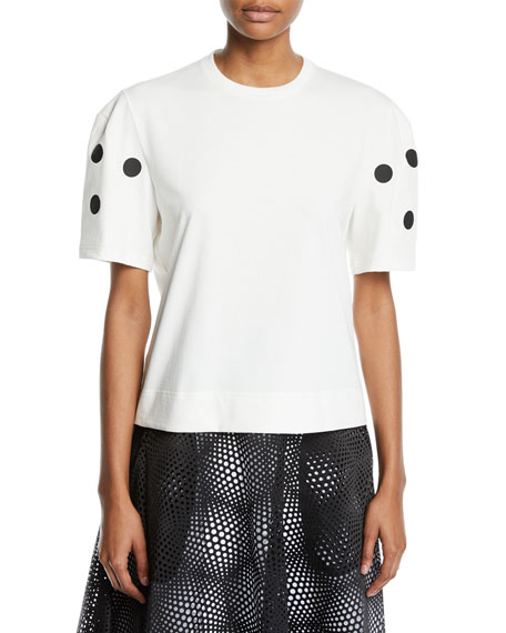 PASKAL Dot Applique Cropped Crewneck Tee in White/Black