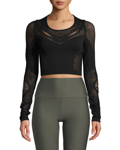 Siren Long-Sleeve Mesh Performance Crop Top