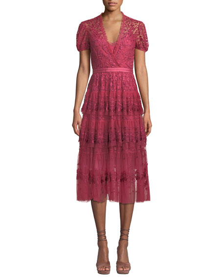 Needle & Thread LAYERED TULLE EMBROIDERED MIDI DRESS