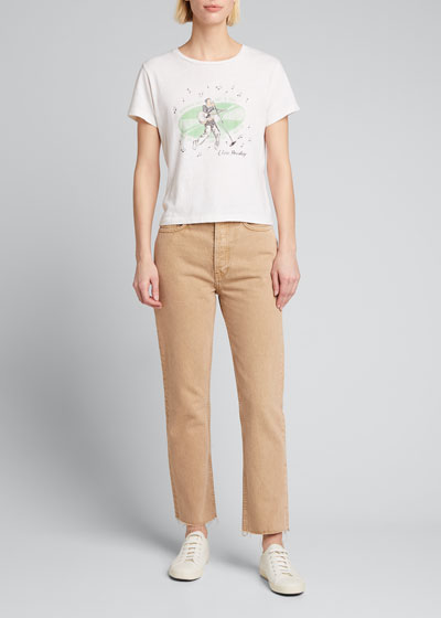 High-Rise Stovepipe Raw-Edge Cropped Jeans