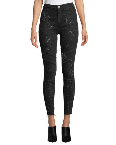 Jennie Rock Splattered High-Rise Skinny Jeans