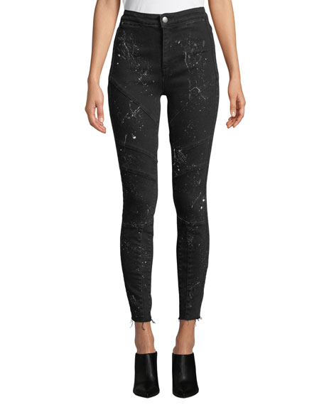 Acynetic JENNIE ROCK SPLATTERED HIGH-RISE SKINNY JEANS