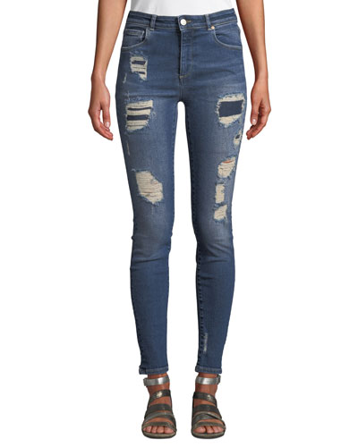Quincy Mica Distressed Skinny Ankle Jeans