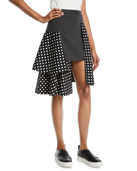 PASKAL Tiered Polka-Dot Multilayered Skirt in Multi Pattern