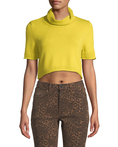 Cropped Turtleneck Short-Sleeve Sweater