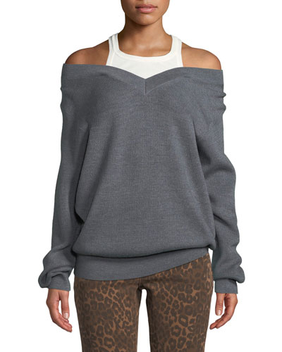 Ribbed Off-Shoulder Wool Sweater with Tank