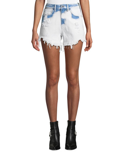 Bite Side-Zip Denim Cutoff Shorts