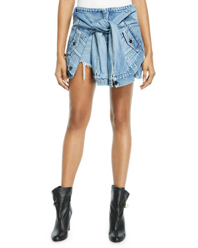 Distressed Denim Skort with Sleeve Ties