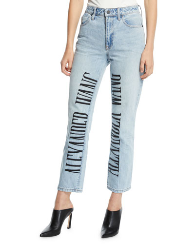 Cult High-Rise Straight-Leg Jeans w/ Embroidered Logo