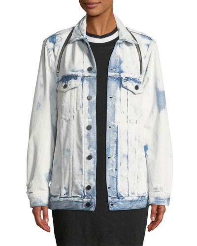 Daze Zip Distressed Denim Trucker Jacket