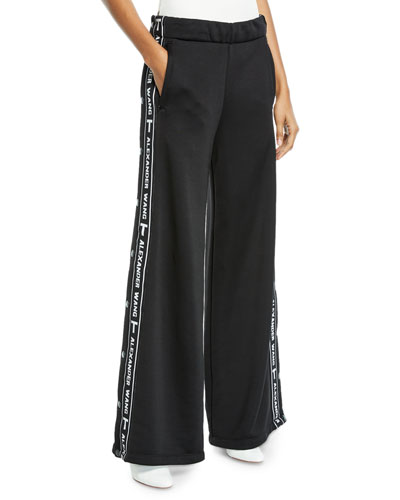 Sleek Wide-Leg Logo Snap-Up French Terry Pants