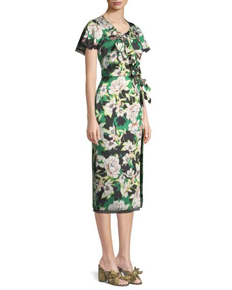Gardenias Nights Printed Bow Dress