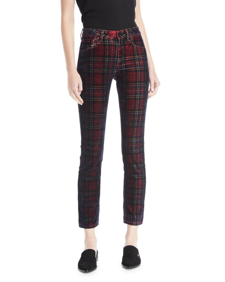 Acynetic KELLY VELVET PLAID SKINNY-LEG PANTS