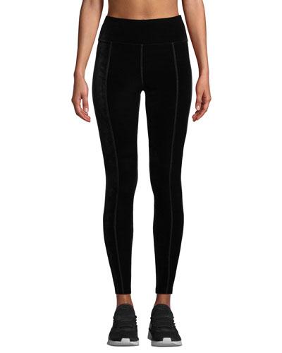 Velvet Side-Stripe Ankle Leggings