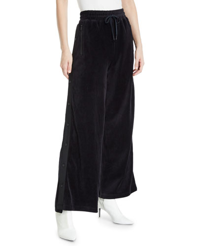 Liya Wide-Leg Velour Snap-Up Track Pants