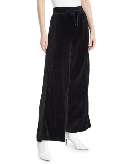 Alala Liya Wide-Leg Velour Snap-Up Track Pants