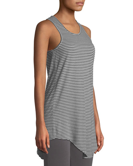 Long Layer Striped Scoop-Neck Tank