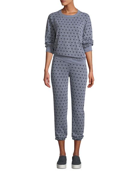 Heathered Star-Print Cropped Sweatpants