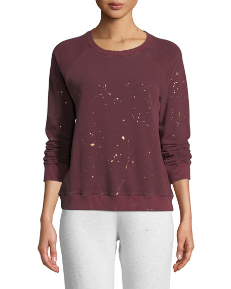 0c3298d77183f2 Monrow Vintage Raglan Pullover Sweater with Foil Splatter